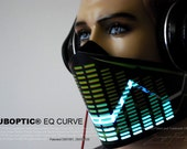 Futuristic Bandana Mask EQ Curve - Light Up Equalizer Mask Sound Reactive for Cyborg masquerade edc DJ gigs tron rave robot Glow Led subzero
