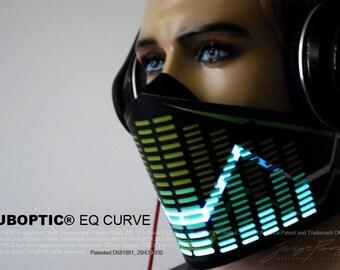 Futuristic Bandana Mask EQ Curve - Light Up Equalizer Mask Sound Reactive for Cyborg masquerade edc DJ gigs tron rave robot Glow Led subzero