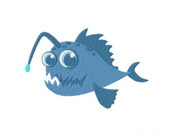 INSTANT DOWNLOAD Monster Fish Machine Embroidery Design