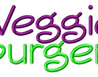 INSTANT DOWNLOAD Veggie Burger Machine Embroidery Font Set Includes 3 Sizes
