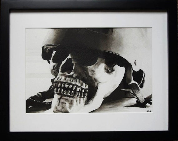 Original India Ink Skull Painting Framed And Matted