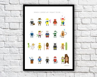 "Kids poster ""When I grow up I want to be"" . . . for boys"