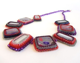 Purple, Red, and Grey Marblized Glass Cabochons Necklace