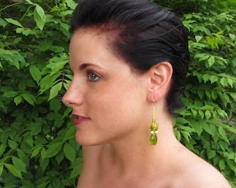 Peridot Green and Tangerine Undulations Earrings