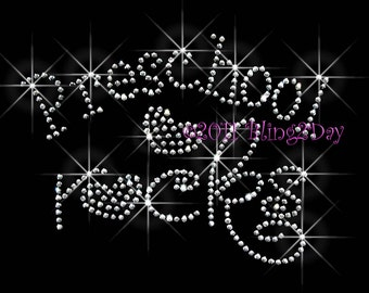 Preschool Rocks - Heart - Iron on Preschool Rhinestone Transfer Bling Hot Fix Kid Mom - DIY School Preschool Teacher Shirts