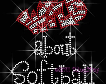 Wild about Softball - Iron on Softball Rhinestone Transfer Bling Hot Fix Bling - Sports School Mom - DIY Softball Shirts