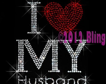 I Love My Husband - Red Heart - Iron on Rhinestone Transfer Bling Hot Fix Motif Applique - DIY