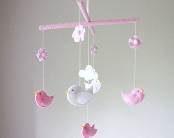 Bird Baby Mobile - Baby Crib Mobile - Baby Mobile - Pink White Clouds