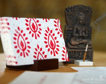 Meditation Cards - ACTION - hand block printed on natural paper with red ink, includes wooden stand