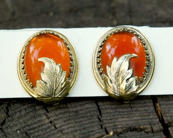 Whiting and Davis Co. Amber Glass Earrings Vintage