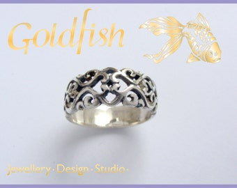 Sterling Silver filligree Dome ring