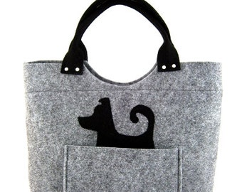 Dog handbag Felt purse Bag for women Gray bag Felt bag Designer handbag Felted bag Modern