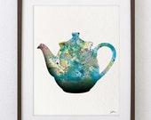 Teapot Art Watercolor Painting - 8x10 Archival Print - Teal, Gray, Blue Teapot Colorful Art - Silhouette Art Wall Decor, Kitchen Decor