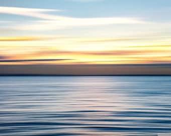 Minimalist photographic seascape, A4 photo print in 16x12 inch matte : Ripples - Thames estuary - minimalist seascape