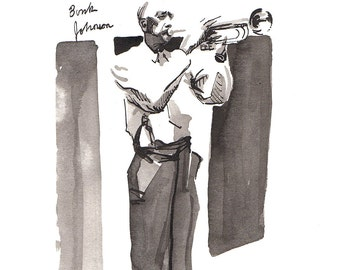 Print of early New Orleans Jazz trumpet player and band leader, Bunk Johnson