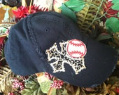 Blinged out tattered baseball cap with cross in baseball style cap color black