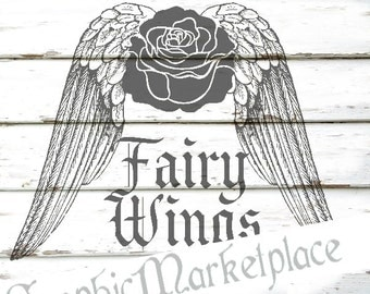 Fairy Wings Instant Download Transfer Burlap digital collage sheet graphic printable graphic No. 172