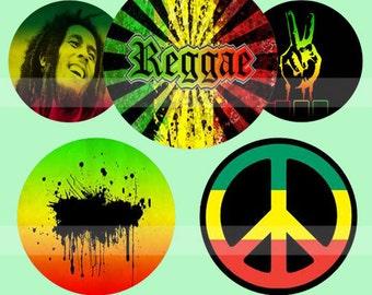 Reggae and Love (020) Digital Collage Sheet 4x6 bottle cap images .. Bottlecap glass tiles ..
