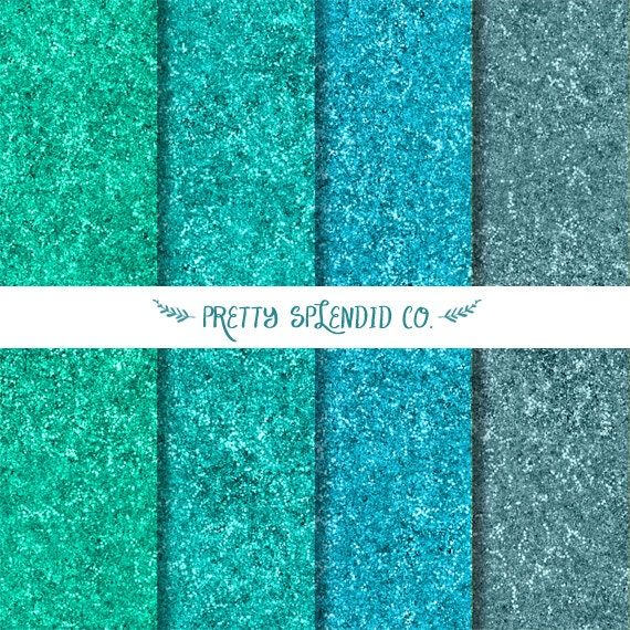Aqua Glitter - Digital Scrapbook Paper Pack - Instant Download
