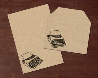 Old typewriter- handprinted stationery // recycling paper