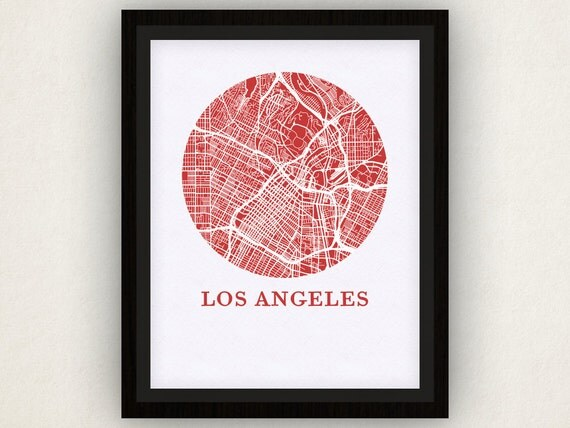 Los Angeles Map Print City Map Poster By OMaps On Etsy