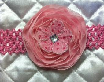 Pink Headband- Beautiful Pink Flower Headband with Rhinestone Center