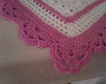 Crocheted White Baby Afghan with Deep Raspberry Border