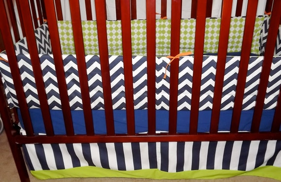 Custom 3 piece baby crib bedding  Made to order