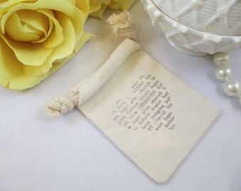 3 x 4 Muslin Wedding Favor Bag, Heart Wedding Cotton Gift Bag, Drawsting Cotton Bridal Shower Favor Bag, Organic Cotton Heart Gift Bag,