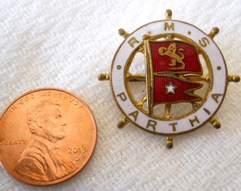 RMS Parthia brooch pin, White Star Line 1950s, Titanic, jewelry