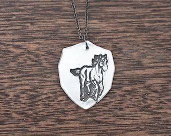 horse crest necklace - horse jewelry - horse necklace - sterling silver horse necklace - sterling silver horse pendant - horse charm