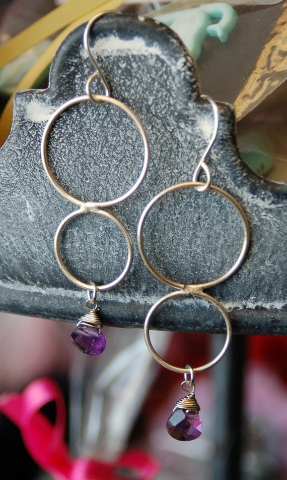 Sterling Hoops with Amethyst
