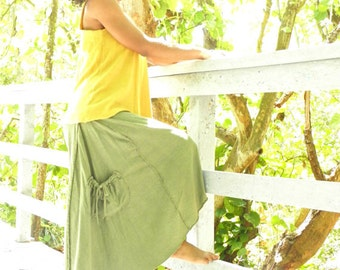 The Freeform Below the knee Skirt in Organic Hemp Jersey. Made to order.