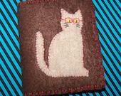 SALE Nerdy Kitty With Red Glasses Felt Needle Book
