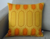 Retro MOD Vintage Pillow Cushion Cover - 70s Fabric Orange Yellow