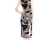 vintage 90s cut-out back tiki dress / geometric tribal print summer maxi dress