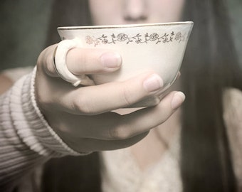 Offerings - FREE SHIPPING - Print Girl Tea Cup Eyes Face Focus Holding Cream Pink White Black Soft Portrait Photo Art Surreal Blur