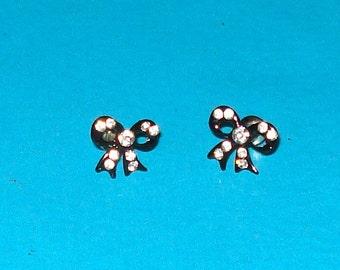 Black and Rhinestone Bow Post Earrings