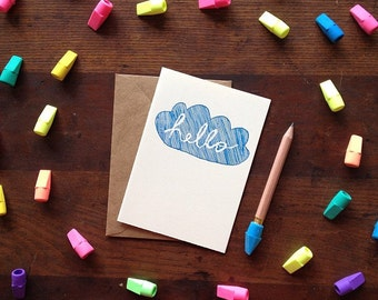 Card: Hello Cloud (blue and white)