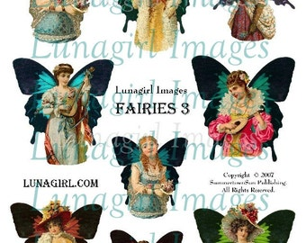ALTERED FAIRIES digital collage sheet DOWNLOAD vintage images Victorian ladies girls fairy wings butterfly ephemera fantasy