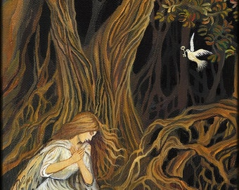 The Key 5x7 Greeting Card Mythology Brothers Grimm Fairy Tale Forest Goddess Art