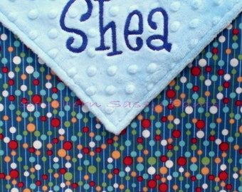Custom Baby Boy Blanket - Personalized Baby Blanket - Primary Colors Pom-Pom Dot and Minky Dot - LIMITED but still available