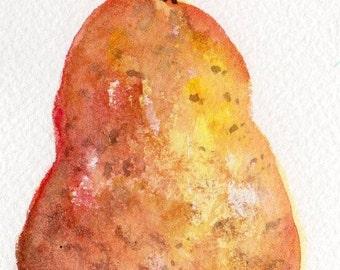 Pear ACEO, Pear watercolor painting, original ACEO, watercolor pear Art Card, miniature original watercolor painting pear, fruit painting