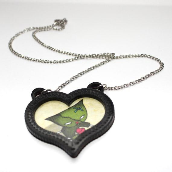 Zombie Cat Necklace Halloween Cameo heart - black acrylic - Jewelry - pussycat