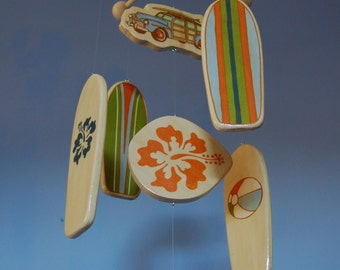 Baby Crib Mobile - Surfboard Baby Mobile with Woody Car and Surfboards for a Surf or Beach Themed Nursery