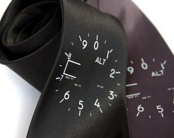 Altimeter Necktie. Men's tie. Ice blue screenprint. Flight instrument, perfect for aviation enthusiasts. Your choice of color and width.