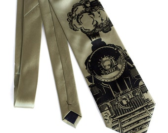 "Locomotive necktie. ""Crazy Train"" railroad necktie. Screen printed microfiber men's necktie. Your choice of color and width. Black print."