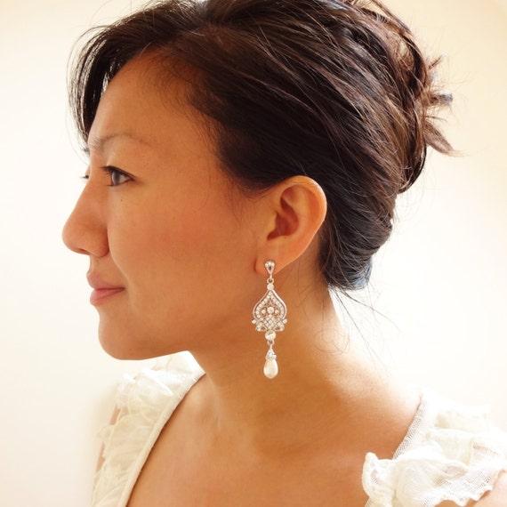 Wedding Earrings, Pearl Bridal Jewelry, Chandelier Bridal Jewelry, Great Gatsby Wedding Jewelry, Crystal Earrings,JACQUELINE