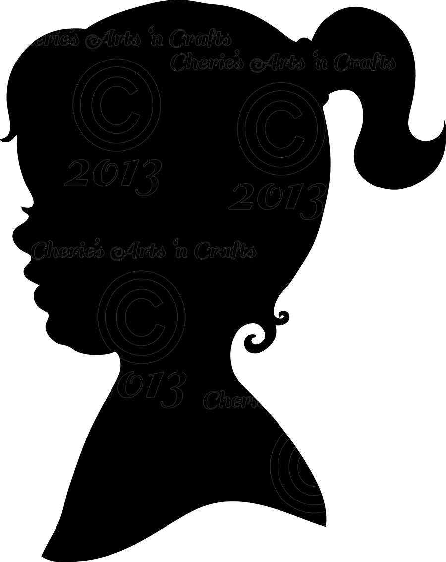 Instant Download Little Girl Silhouette PNG by CheriesArtsnCrafts