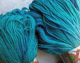 Hand Dyed Fingering Weight Merino & Silk Yarn - Turquoise / Cobalt Blue